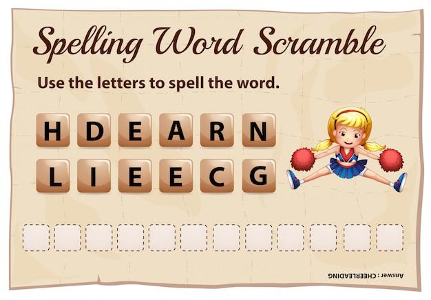Plantilla de juego de ortografía scramble para porristas
