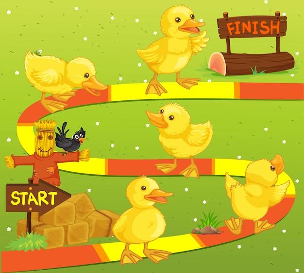 Plantilla de juego con patos en la granja.