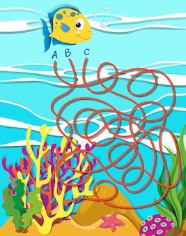 Plantilla de juego con peces y arrecifes de coral.