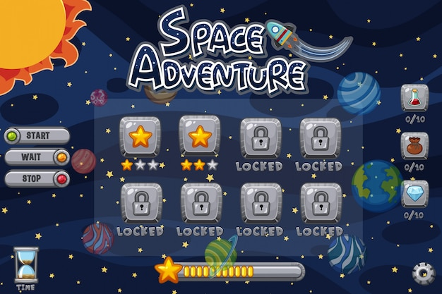 Plantilla de juego con planetas en sistema solar