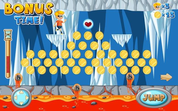 Plantilla de juego de plataformas lava cave