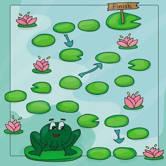 Plantilla de juego con ranas en la ilustración de fondo de campo