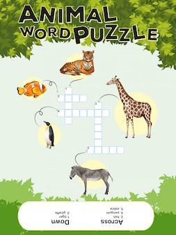 Plantilla de juego para rompecabezas de palabras de animales con llaves