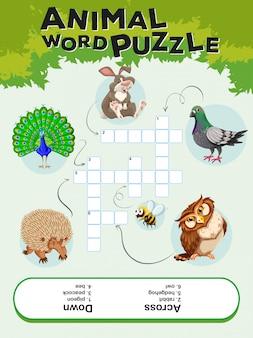 Plantilla de juego para rompecabezas de palabras de animales