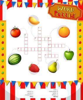 Plantilla de juego de rompecabezas de palabras con frutas