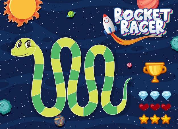 Plantilla de juego con serpiente verde en el fondo del espacio