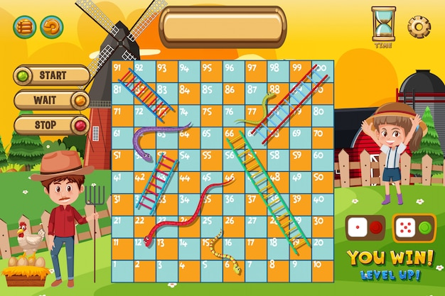 Plantilla de juego de serpientes y escaleras con granjero y molino de viento