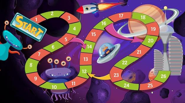 Plantilla de juego de serpientes y escaleras con tema espacial