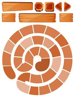 Plantilla de juego con signos en espiral y madera