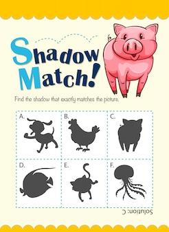 Plantilla de juego con sombra que hace juego con el cerdo