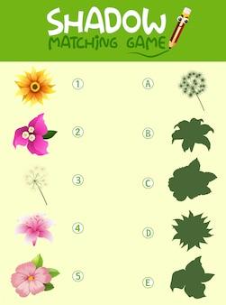 Plantilla de juego de sombras de flores