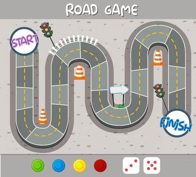 Una plantilla de juego de tablero de carretera.