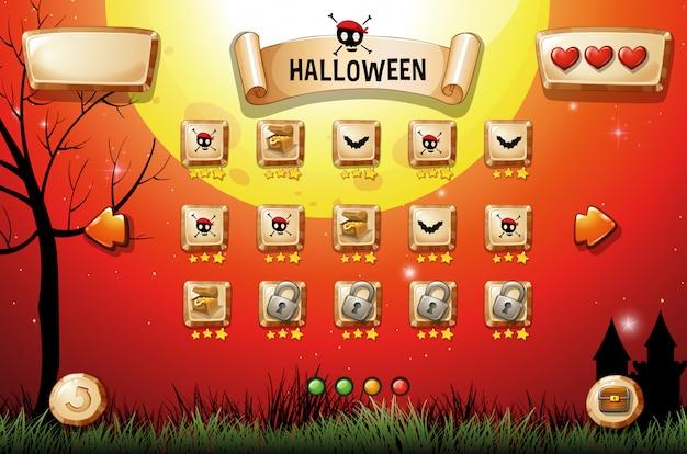 Plantilla de juego con tema de halloween