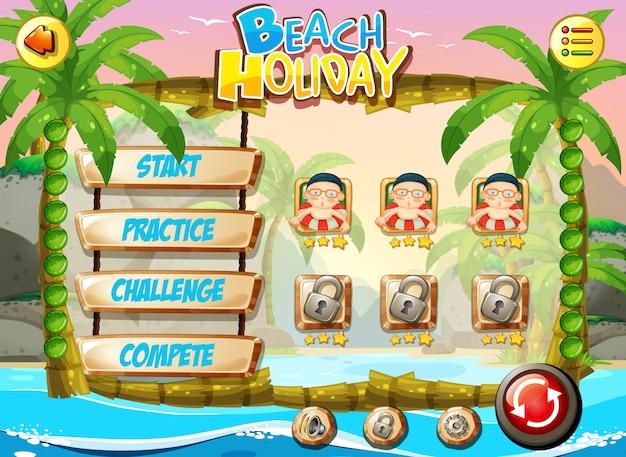 Plantilla de juego de vacaciones en la playa