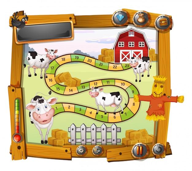Plantilla de juego con vacas y granero.