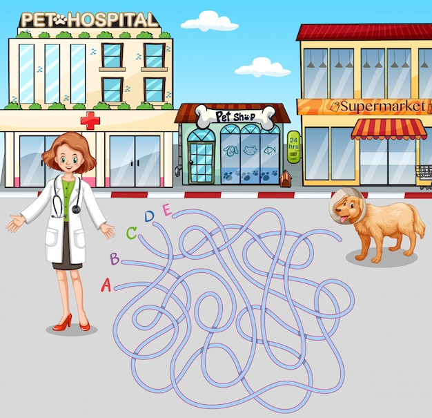 Plantilla de juego con veterinario y mascota en el hospital.