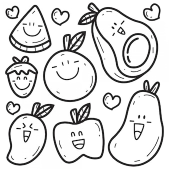 Plantilla kawaii cartoon fruit doodle