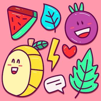Plantilla kawaii cartoon fruit doodle
