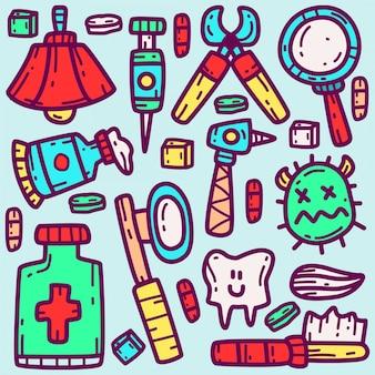 Plantilla de kawaii de doodle de dibujos animados de dentista