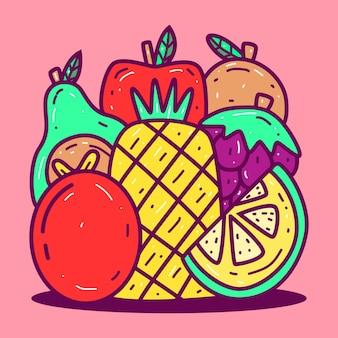 Plantilla de kawaii doodle fruit s
