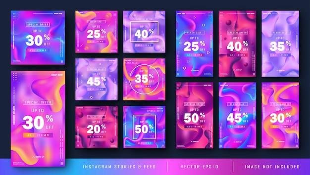 Plantilla de kit de instagram gradiente con estilo líquido