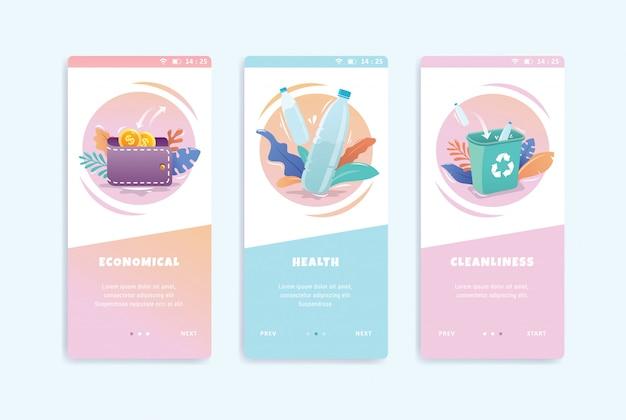 Plantilla de kit de interfaz de usuario de pantallas de incorporación de concepto saludable
