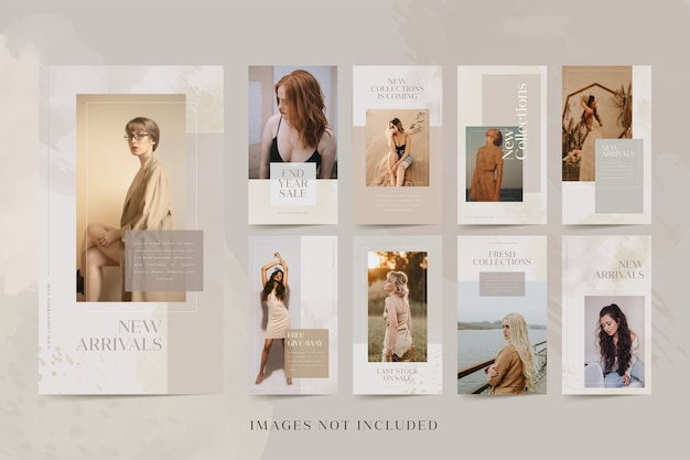 Plantilla de kit de paquete de publicaciones de historias de instagram para productos de moda
