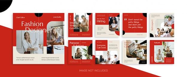 Plantilla de kit de paquete de publicaciones de noticias de negocios de redes sociales