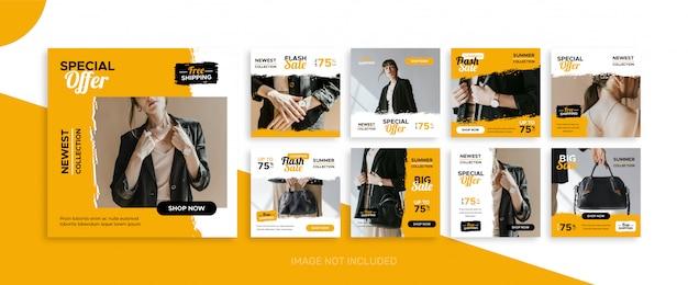 Plantilla de kit de paquete de publicaciones de venta de moda de redes sociales