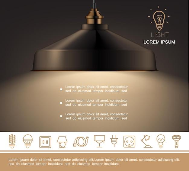 Plantilla de lámpara brillante realista con texto e iconos lineales de equipos de iluminación