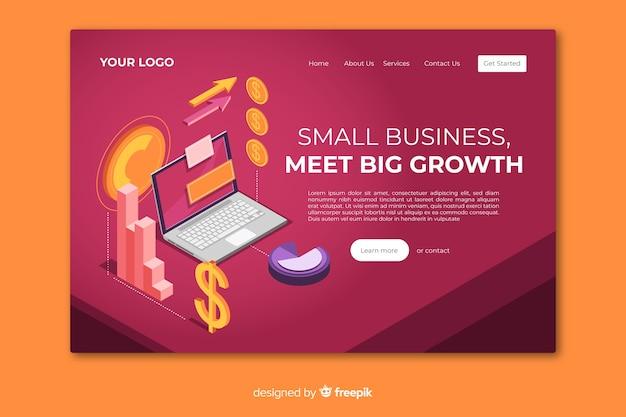 Plantilla de landinag page isométrica de negocios