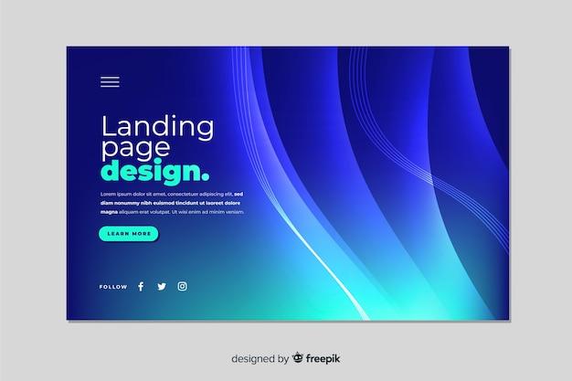 Plantilla de landing page abstracta con degradado