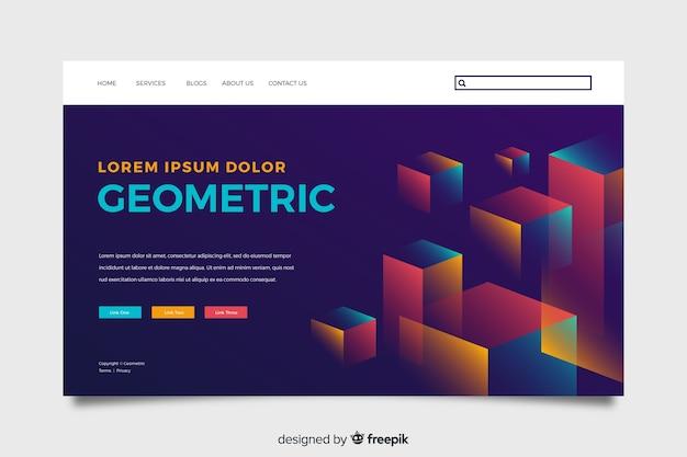 Plantilla de landing page abstracta con formas geométricas