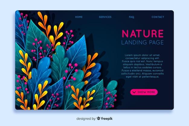 Plantilla de landing page abstracta de naturaleza