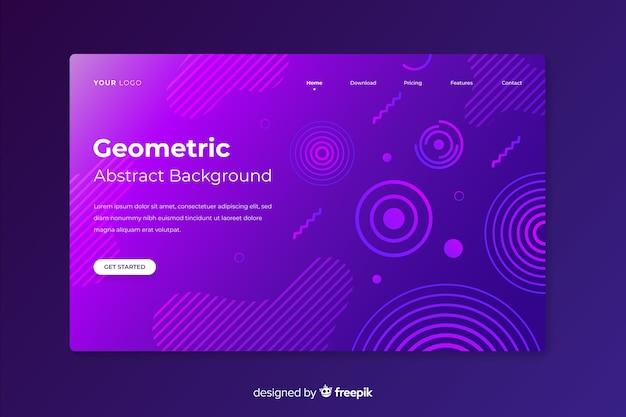 Plantilla de landing page abstracto de formas geométricas