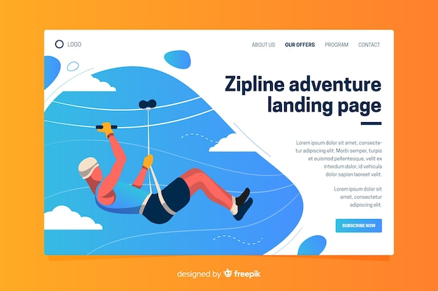 Plantilla de landing page de actividades al aire libre