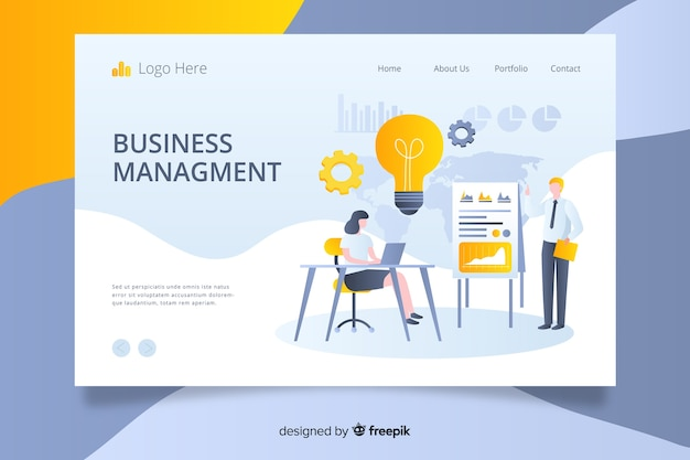 Plantilla de landing page de análisis de negocios