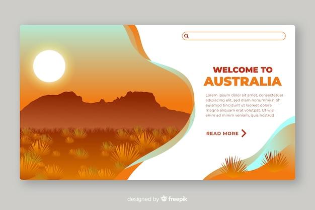 Plantilla de landing page de bienvenida a australia