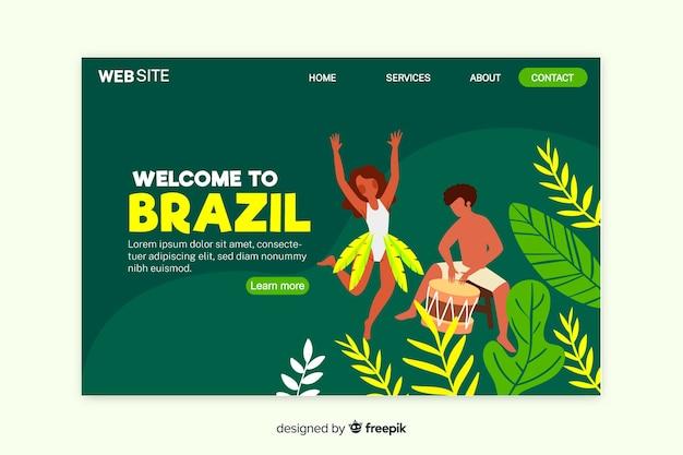 Plantilla de landing page de bienvenida a brasil