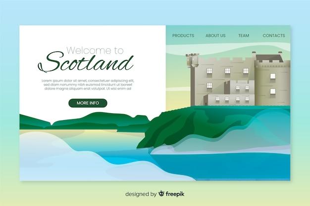 Plantilla de landing page de bienvenida a escocia