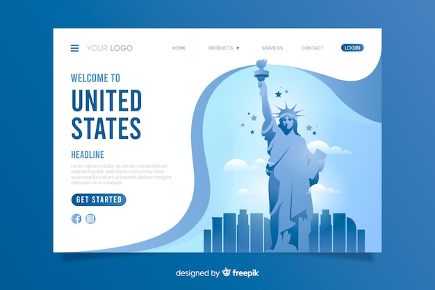 Plantilla de landing page de bienvenida a estados unidos