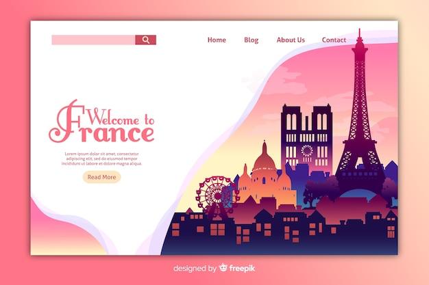 Plantilla de landing page de bienvenida a francia