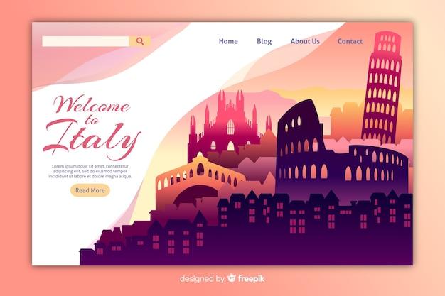 Plantilla de landing page de bienvenida a italia