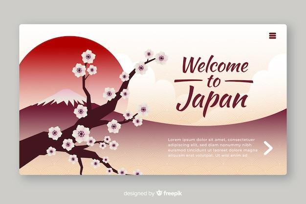 Plantilla de landing page de bienvenida a japón