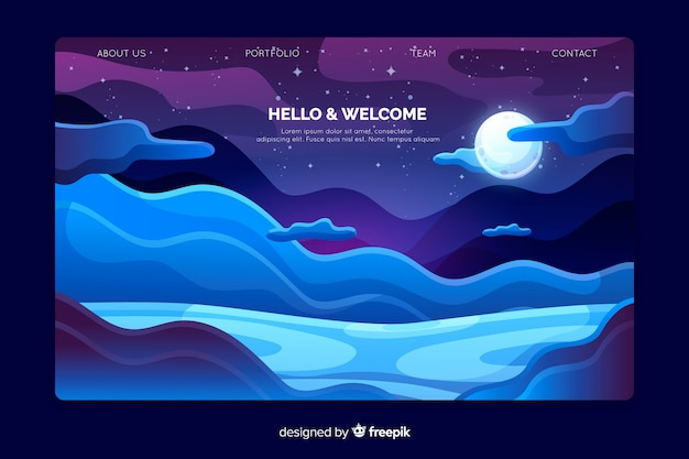 Plantilla de landing page de bienvenida con paisaje