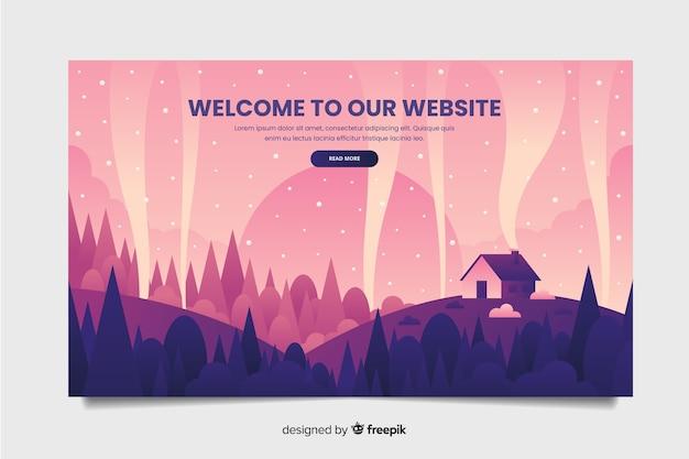 Plantilla de landing page de bienvenida con paisajes