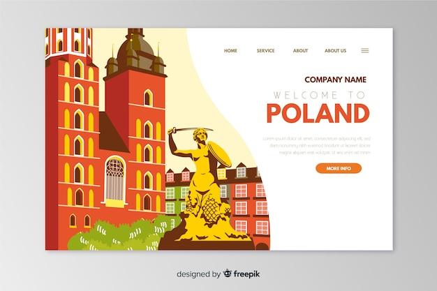 Plantilla de landing page de bienvenida a polonia