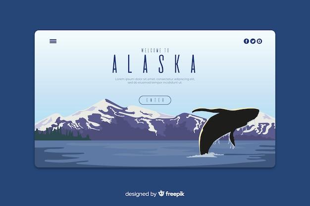 Plantilla de landing page de bienvenido a alaska