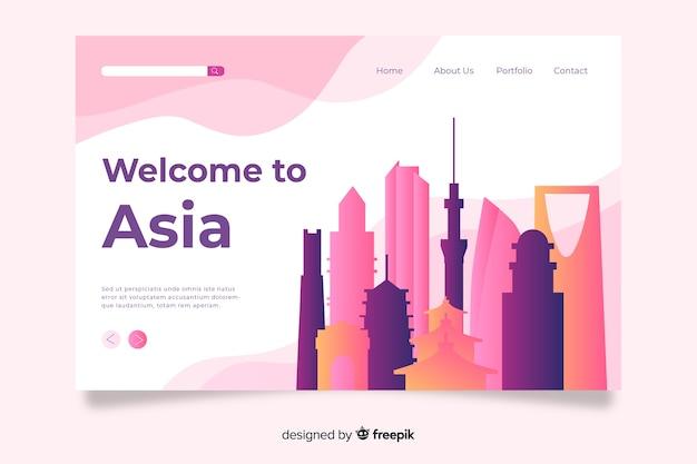 Plantilla de landing page de bienvenido a asia