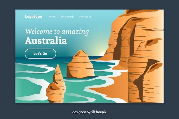 Plantilla de landing page de bienvenido a australia